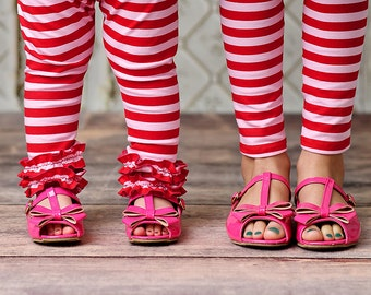Girls Ruffle Leggings - Candy Striper Holiday Coordinates- 2016 Winter colleciton- from Mellon Monkeys