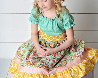 Girls Spring Peasant Dress- Spring Medley - in yellow or mint- by Melon Monkeys -
