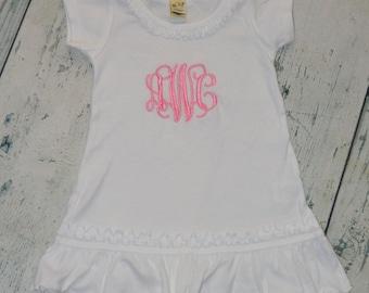 Personalized Girls Ruffle Dress - Monogram dress girls custom dress