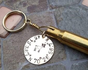 GPS Coordinates Brass Bullet Casing Keychain - For Him Or Her - Repurposed Bullet - Deer Hunting Season Gift