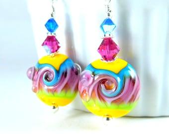 Colorful Neon Rainbow Swirl Dangle Earrings, Yellow Pink Blue Lime Glass Earrings Psychedelic Wave Earrings Lampwork Earrings Hippie Jewelry