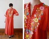 1970s Coral Embroidered Maxi Dress - S/M/L