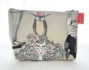The Ghastlies Fabric Cosmetic Bag Makeup Bag Zipper Pouch Mathilde Ghastlie with Owl on Head Alexander Henry Tan Pink Gray GET
