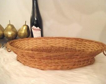 Vintage Oblong Wicker Basket ~ Woven Jungalow ~ Table Server basket ~ Basket Tray