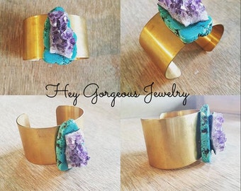 Turquoise and amethyst brass statement cuff bracelet- cuff bracelet- turquoise- amethyst- valentines gift