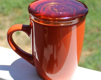 Coffee Cup Lid Orange Amber Recycled Glass Tea Lovers Gift