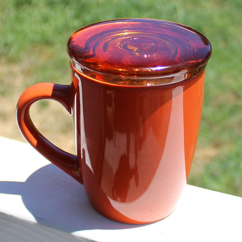 coffee cup lid orange amber recycled glass tea lovers gift. Black Bedroom Furniture Sets. Home Design Ideas