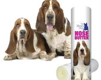 Basset Hound NOSE BUTTER® Handcrafted All Natural Balm for Rough, Dry, Cracked Dog Noses .50 oz Tube with Basset Label in Gift Bag