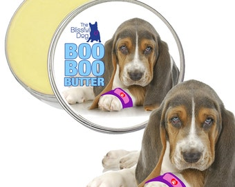 BASSET HOUND Boo Boo Butter Handcrafted All Natural Herbal Balm to Soothe Your Dog's Itchy Skin Irritations & Discomforts 1 oz Tin Salve