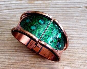 Wide Matisse Hinged Bracelet, Rare Vintage MATISSE Copper Enamel Bracelet, Modernist Hinged Bangle Bracelet, MCM Copper Clamper Bracelet