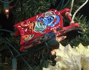 Norwegian rosemaled wooden sled ornament
