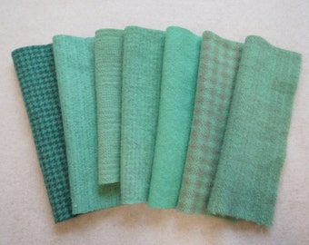 "Hand Dyed Felted Wool Fabric in Turquoise Green - Aqua Quilting, Sewing, Wool Applique in a 7-8"" x 5-6"" size"