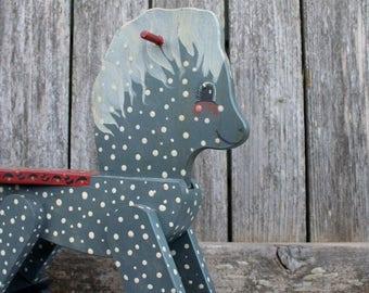 Vintage 1980's Handpainted Folk Art Rocking Horse / Kid's or Nursery Decor
