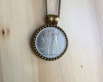 ITALY - One of a Kind Italian Lira Coin Necklace - Reversible