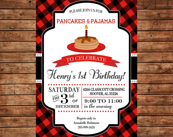 Boy Lumberjack Red Black Check Plaid Pancakes Pajamas Birthday Invitation- DIGITAL FILE