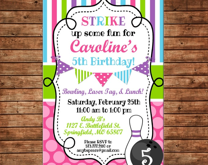 Girl Invitation Bowling Alley Bunting Birthday Party - Can personalize colors /wording - Printable File or Printed Cards