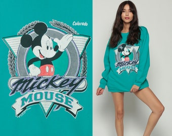 Mickey Mouse Sweatshirt COLORADO Walt Disney Sweater 90s Grunge Shirt Cartoon Graphic 1990s Vintage Hipster Teal Green Large