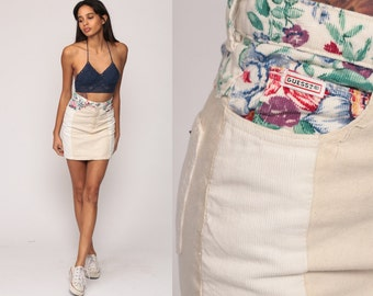 Denim Skirt GUESS Jean Skirt Mini Skirt FLORAL CORDUROY Pencil 80s High Waisted Wiggle Grunge Retro Vintage Cream Hipster Extra small xs