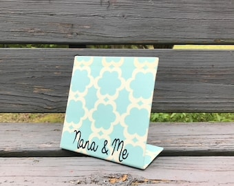 Nana Gift, Mothers Day, Magnet Board, Aqua Quatrefoil, Magnet Photo Frame, Grandmother Gift,  Nana and Me, Message Board, Picture Frame