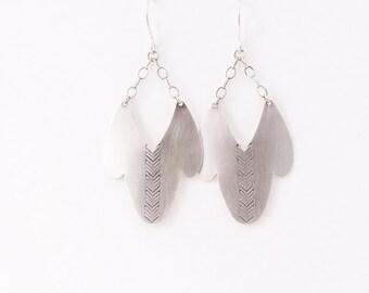 Ophelia earrings - recycled sterling silver dangle shape boho dangles