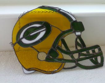 Stained Glass Green Bay Packers Helmet Hanging