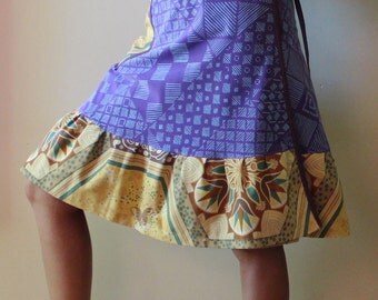 Knee length Wrap Skirt, purple, yellow (one size fits most small - large)
