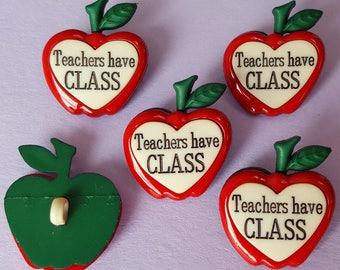 TEACHERS HAVE CLASS - School Children Apple Novelty Dress It Up Craft Buttons