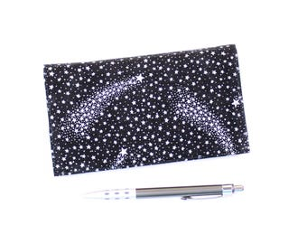 Shooting Stars Checkbook Cover with Pen Holder for Duplicate Checks,  Silver on Black Cotton Fabric - ONLY ONE AVAILABLE