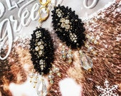 Black Crystal // Vintage Inspired Hand Embroidered Chandelier Earrings OOAK