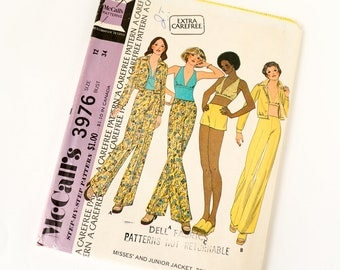 Vintage 1970s Womens Size 12 Groovy Jacket Halter Top and Wide Leg Pants McCalls Sewing Pattern 3976 FACTORY Folds / bust 34 waist 26.5