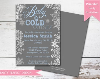 Gray, Pink, or  Blue Winter Wonderland Baby Shower Invitation - Print Your Own