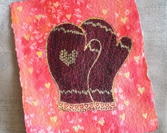 Ruby Mittens with Gold Lace and Heart - Small, Original Watercolour Painting