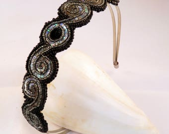 Black and Silver Swirl Bead Embroidered Head band