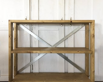 Industrial Wood Rolling Cart Bookshelf, Sofa Table, Joanna Gaines, Console Table, Barn Cart, Rustic Wood Shelf, Rustic Metal Accent Table