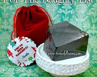 LUMP O'COAL Soap in Red Velvet Santa Bag For Your Naughty Ones! 4-5oz
