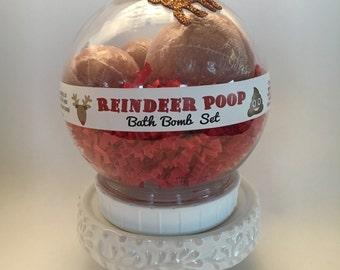 REINDEER POOP Snow Globe Bath Bomb Set
