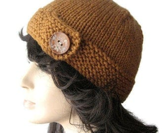 The Clara Hat, Hand Knit Hat,  Button Tab Beanie, Knit  Accessories, Fall Fashion, Knitted Winter Hat, Knit Beanie, Knit Cloche Hat