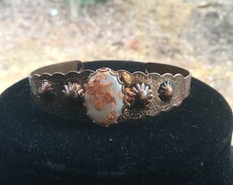 Vintage Native American Solud Copper Cuff Bracelet W/ Foil Cabochon