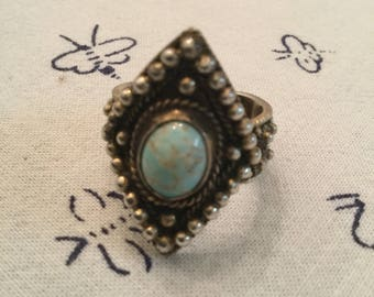 Vintage Topazio Portugal Sterling Silver Turquoise Ladies Ring