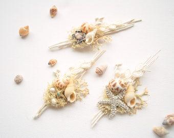 Beach Weddings Boutonniere, Seashells Beach Grooms Boutonniere, Groomsmen Nautical Boutonnieres, Beach Wedding Accessories, Starfish, Crab