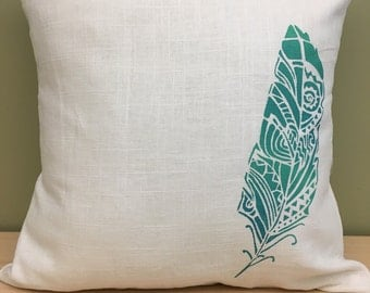 "16"" ivory ombre boho feather pillow cover"