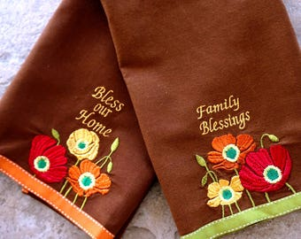 Vintage Tea Towel Kitchen Towel Embroidered Floral Bless Our Home Family Blessings Set of Two