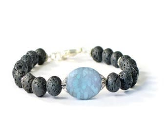 Turquoise Czech Glass and Lava Rock Aromatherapy Bracelet, Essential Oil Diffusing Jewelry