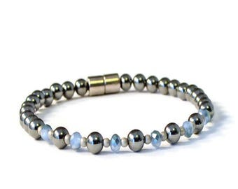 Black High Power Magnetic Hematite Therapy Bracelet with Light Blue Crystal and Antique Silver, Arthritis Relief