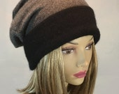 Anna, 100% pure cashmere hat,  slouchy, beanie, 2 tone color, black band on grey hat, men or women