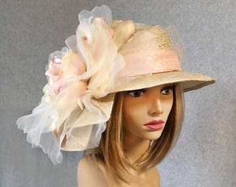 """Kentucky Derby hat, """"Sonya"""", beautiful straw hat with draped pleating on the side, and large Gold and Pink flower"""