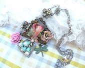 spring collage necklace robin assemblage flower bird pendant fence cottage chic upcycled vintage jewelry
