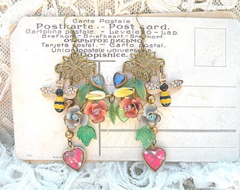 spring earrings assemblage enamel flower romantic cottage chic bee heart garden upcycled vintage jewelry ooak