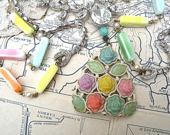 spring flower necklace assemblage cottage chic pastel floral recycled vintage jewelry garden