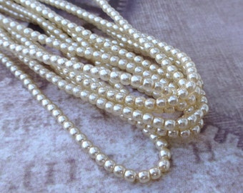 free uk postage Strand of 150 Faux Pearl Beads Mini Glass Pearls Cream 2mm